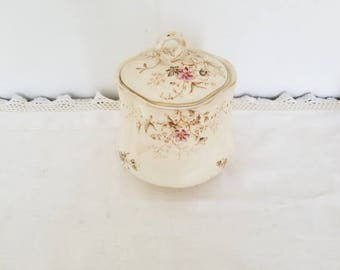Antique Bisquit Jar English Floral Cookie Jar Covered English Biscuit Jar Cottage Kitchen Pink Green Rose Covered Cookie Jar