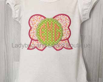 Girl's Big Bow with Center Scallop Circle Monogram Short Sleeve Ruffle Top Sizes 12M-18M, 2T-5T, 6