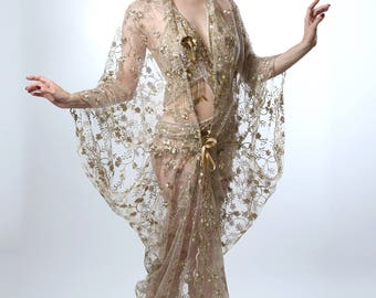 Sheer Gold Embriodered 1920's Deco Style Gown