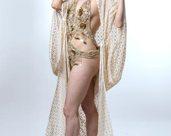 White & Gold Embriodered 1920's Deco Style Gown