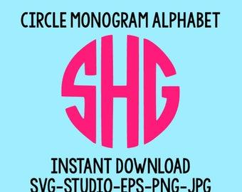 SALE! Circle Monogram SVG, Circle Monogram Font, SVG Files, Silhouette Cut Files, Cricut Cut Files