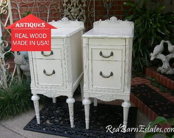 painted antique nightstands pair of nightstands custom sourced restored and painted to order shabby chic