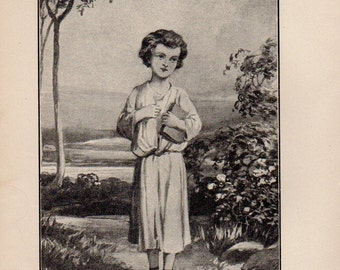 Antique print 1898. The Child Jesus. Lithograph print. 120 years old print. Antique print plate.8.5x6 inches, 21x15cm