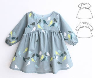 On SALE - BLUE TIT Baby Girl Dress sewing pattern Pdf, Woven Dress, Short and Long Sleeve, Toddler dress, newborn dress 0 - 10 years