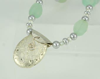 """Necklace in Green Chalcedony, White Gold, Pearls, Sterling Silver, Czech Glass, Hand-Gilded White Gold Leaf on Stone, Sterling Toggle, 17.5"""""""