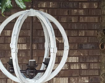 "18"" Distressed Painted White Wood Orb Chandelier Sphere Wood Chandelier Rustic Farmhouse"