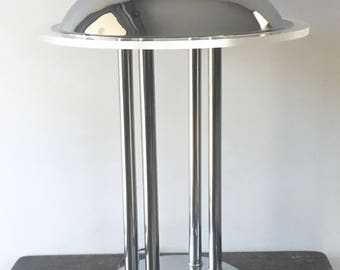 Mid Century UFO Lamp, Chrome and Lucite Lamp, Desk Lamp