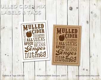 Christmas Holiday Gifts - Mulled Cider - Mulling Spice Mix Gift Set - Labels and Tags