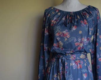 salvation armani vintage dress - blue floral dress - belted floral dress - slinky blue dress - secretary dress - boss babe - long sleeve