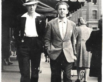 "Vintage Snapshot ""Talk Of The Town"" Snappy Dresser & Buddy Walking Down The Street Handsome Men Street Photography Found Vernacular Photo"