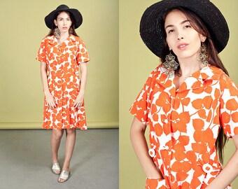 60s Orange White Leaf Dress Vintage Print Floral Midi Dress