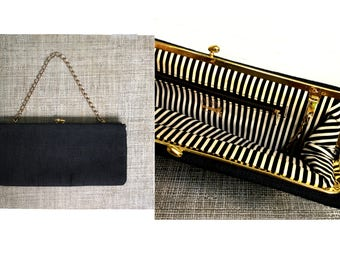 vintage 1960s Black Convertible Clutch Ingber Evening Bag Purse Heavy Linen Goldtone Clasp and Chain Fabulous Black and White Striped Lining