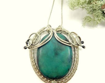 Woodland Amulet Necklace/Chrysocolla Necklace/Wire Wrapped Pendant