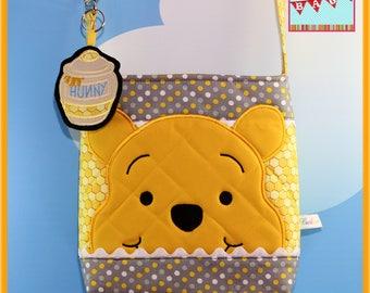 Disney Cross Body Bag Applique Winnie the Pooh with dangle