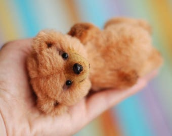 Pocket size teddy bear miniature bear artist teddy OOAK red brown fluffy bear 4-inches stuffed bear gift for friend present for traveler