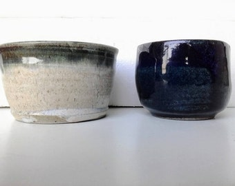 Free shipping-small blue cup/bowl+small bowl in grey/cream+blue,ceramic serving shallow bowl,handmade pottery,soup bowl,cereal bowl,trinket
