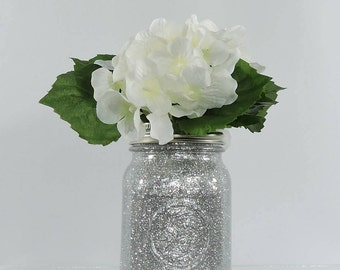 Silver Wedding Decor Glitter Mason Jar Centerpiece, Baby Shower Decor, Graduation Party Decor, Birthday Party Decor and Home Decor