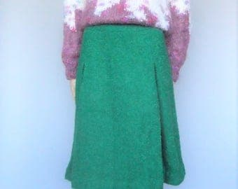 Wool Skirt, Kick Pleat, A-line, Green Vintage Skirt