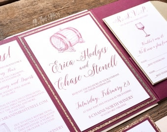 Wine Wedding Invitations, Wine Themed Wedding Invitations, Merlot  Invitations, Glitter Pocketfold Invitations,