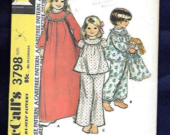 Vintage 70's McCall's 3798  Nightgown And Pajamas, With High Yoke, Long Or Short Sleeves, & Pajama Bag  Girls Size 4