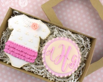 Custom Monogram Baby Girl Sugar Cookies Box Set
