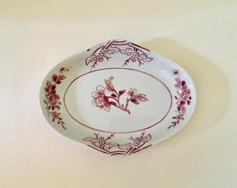 Vintage Pink Floral Mottahedeh Vista Alegre Serving Dish, Small Tray, Pink