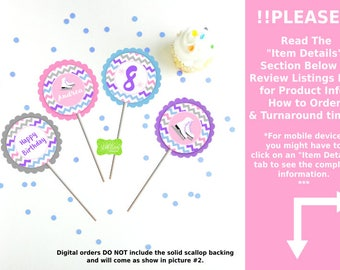 Ice Skating Cupcake Toppers - Ice Skating Party Circles - Ice Skating Toppers - Chevron Cupcake Toppers - Digital or Printed Toppers