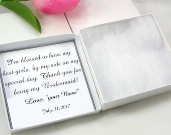 Bracelet Jewelry box, personalized note card with box , Bridesmaids gift, Personalized Thank You For Being My Bridesmaid Boxes, Special day