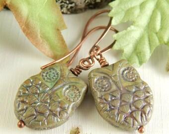 Hoot ~ Green Owl Earrings