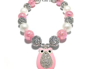 Toddler or Girls Pink and Silver Owl Chunky Necklace - Cute Owl Necklace - Valentines Owl Necklace - Pink, Silver and White Chunky Necklace