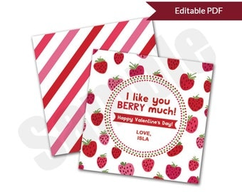 Strawberries I Like You BERRY Much Valentine's Day Card Tag Editable PDF Printable for Classroom Exchange