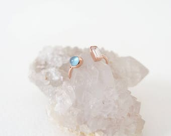 NEW Ashley - Stacking Ring in Blue Chalcedony on Rose Gold, Adjustable Ring, Gifts for her