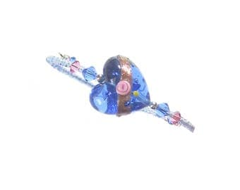 Murano Blue Heart Pink Rose Bangle Bracelet, Venetian Italian Jewelry, Under 25, Adjustable Bracelet, Gift Idea, Lampwork Glass Jewelry