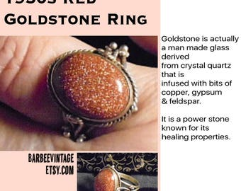 Goldstone and Sterling Silver Ring Size 7