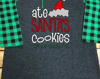 Women Ladies Buffalo Plaid Sleeve Raglan I Ate Santa's Cookies Gift Personalized