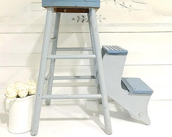 Vintage Wood Stool Ladder Rustic Farmhouse Folding Stool Step Stool/Step Ladder Blue Gray Kitchen Stool