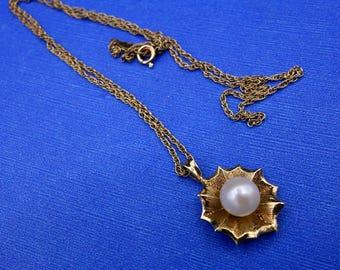 Vintage Pearl 14k Gold Pendant, Gold Pendant, Pearl Pendant, Cultured Pearl Gold Pendant, 14k Gold Chain