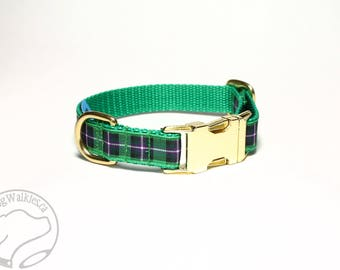 "Hibernian or Hibs Tartan Dog Collar - FC Plaid - 3/4"" (19mm) wide - Quick Release or Martingale Dog Collar - Choice of collar style and size"