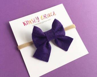 Purple Sailor Bow, Baby Bows, Baby Headband, Newborn Headband, Baby Girl, Nylon Headband, Schoolgirl Bows, Baby Hair Bow, Girls Headband