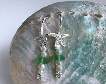 starfish pearl green sea glass earrings, sea glass pearl earrings, green Atlantic Sea glass earrings, bridal bridesmaid beach wedding