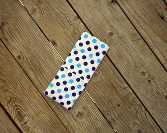 Blue Navy and Teal Polka dots Travel Flat Iron Case, Curling Iron Case, Hot Iron Case