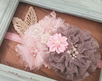 Pink and Gray Baby Girl Headband, Lace Flower Headband, Wedding Sash, Flower Girl Headband, Dress Sash, Baby Girl Headbands, Infant Headband