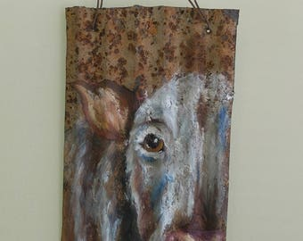 Special Cow, Original Oil Painting, Rusted Metal, Farmhouse, Vintage, Repurposed, Country