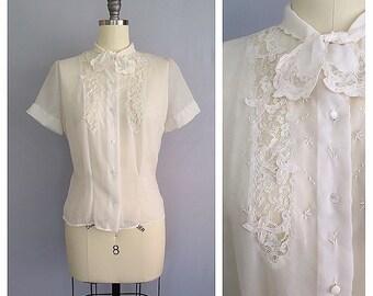 Blouse de jour | 1950s nylon lace blouse | 50s sheer ascot bow shirt | s - m