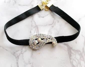 Choker Necklace Paisley rhinestone Great Gatsby Jewelry Handmade Elegance ,victorian