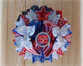 July Fourth Bow, Red White and Blue Bow, Patriotic Hair Bow, Fourth July Outfit Accessories
