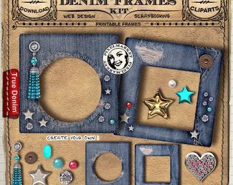 Denim FRAME Cliparts KIT Distressed Blue Jeans Picture FRAME w/ Jewels Printable Dowload for PhotoBook Blog Scrapbook Blue Frame Stamp n225