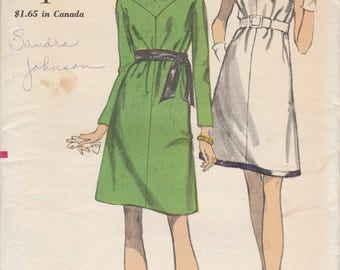 60s Cowl Neckline Dress Pattern Vogue 7208 Size 12