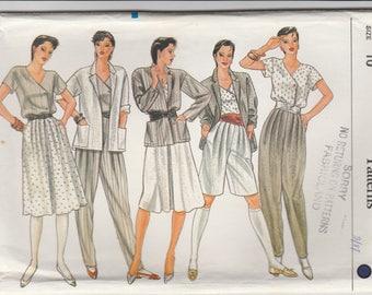 80s Jacket, Top, Skirt & Pants Pattern Vogue 8246 Size 10 Uncut