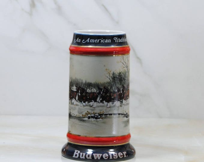 Vintage Budweiser Beer Stein,1990, Holiday, Stein Collection, An American, Tradition, Handcrafted, Anheuser Busch, Inc, Christmas